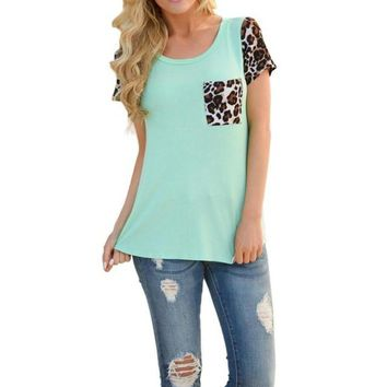 Leopard Splice Printing Pocket Top