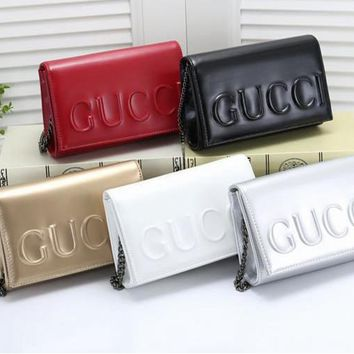 """Gucci"" All-match Fashion GG Letter Butterfly Quilted Chain Single Shoulder Messenger Bag Women Flip Small Square Bag"
