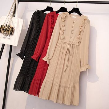 limiguyue summer ruffles pleated women dress flare sleeve polka dot lace up female layers casual dresses vintage vestidos T470