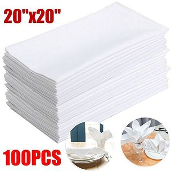 PREMIUM WHITE COTTON RESTAURANT WEDDING DINNER CLOTH LINEN NAPKINS 20X20 (100)