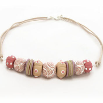 Seashell Beaded Necklace - Polymer Clay Necklace - Pink Cream - Summer Beach Seashell Fossils - Bespoke Design