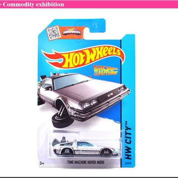 ac NOOW2 Hot Sale Hot Wheels Time Machine Collection Metal Cars Hot Wheels Back To The Future Style Children's Educational Toys 1:64