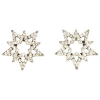 Rhinestone Star-In-A-Star Stud Earrings - Silver