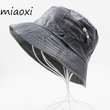 [miaoxi] New Fashion Adult Unisex Bucket Hats Solid Dome Casual Cap Summer Fishing Caps Polyester Men Bonnet Summer Hat Sale