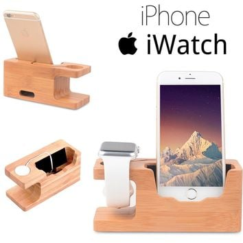 Bamboo Apple Watch Iwatch Iphone Charging Stand Dock Charger Docking Station