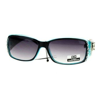 LMFN3C CG Eyewear Rhinestone Studded Narrow Rectangular Designer Fashion Sunglasses Black Blue