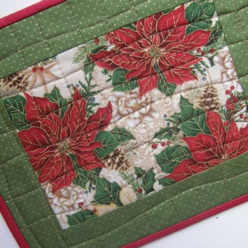 Quilted Mini Placemats - Mug Rugs - Poinsettias - Set of 2