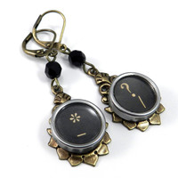Vintage Typewriter Key Earrings - Brass Teardrop - Punctuation Question Mark