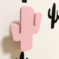 Nordic Style Cactus Shaped Wooden Hook Home Decoration Wall Art Window Furniture Sticker Children Room Decoration 3 Colors