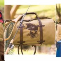 Outdoorsman Canvas Duffel Bag Embroidered Design Camping Tackle Man Gift Hunter