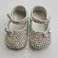 Blinged Out Baby Shoes. Rhinestone, Swarovski Crystal, Baby Girl, Christening, Baby Shoes, Princess, New Baby,  Baby Gift, Baby Shoes Girl