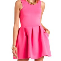 Neon Racer Front Pleated Skater Dress - Bright Pink