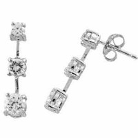 Sterling Silver Past, Present, and Future Simulated Diamond CZ Earrings