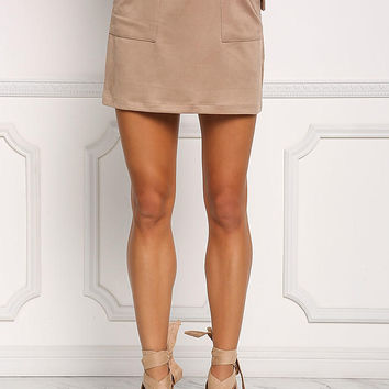Taupe Suedette Cinched Pocket Skirt