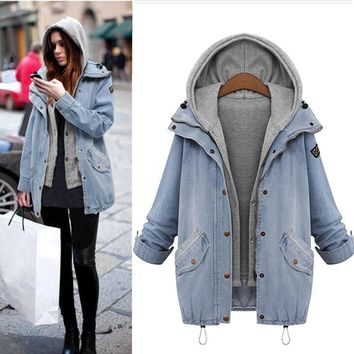 Trendy Warm autumn winter new 2018 fashion Thick cowboy Winter Women Warm Collar Hooded Coat Jackets Denim Trench Parka Outwear AT_94_13