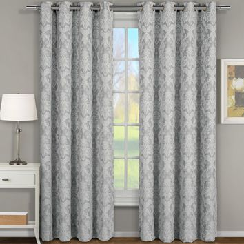GRAY Blair Jacquard Grommet Top Curtain Panel Pair (Two Panels )