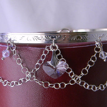 Made To Order Princess Dreams Sterling Silver Locking Slave Collar With Swarovski Crystal Elements