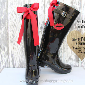 Red Lips Custom Black Gloss Rain Boots with Red Bows