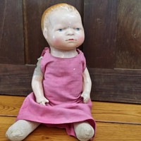 "Vintage Doll with Straw Stuffed Body and Composition Head and Arms 11"" Great Collectible Creepy Decor"