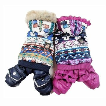 New Coming Hooded Thickness Pet Dogs Winter Coat With Snowman Printing Small Puppy New clothing For Dog