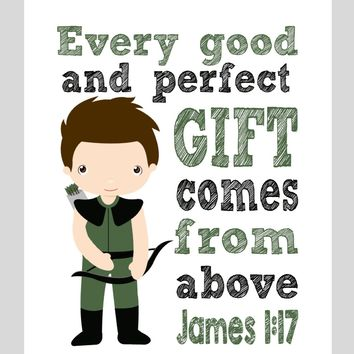 Arrow Superhero Christian Nursery Decor Print - Every Good and Perfect Gift Comes From Above - James 1:17