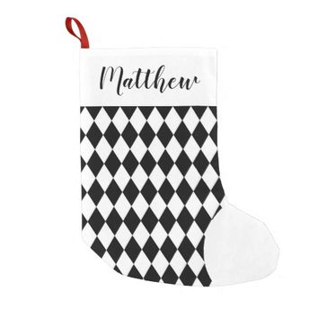 Personalized Harlequin Pattern Christmas Stocking