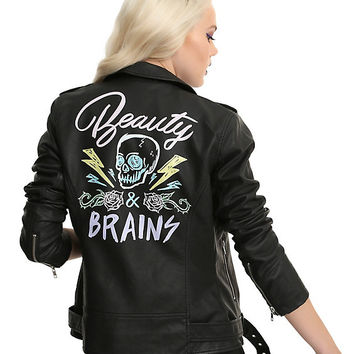 Beauty & Brains Painted Back Faux Leather Girls Moto Jacket