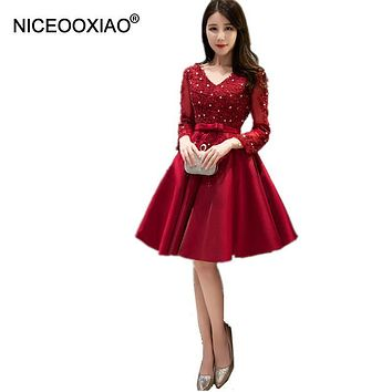 NICEOOXIAO Long Sleeve Robe De Soiree Red Lace Short Evening Dress Embroidery with Lace Beaded Party Gown WomenTUTU Formal Dress