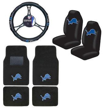 Licensed Official New NFL Detroit Lions Car Truck Seat Covers Floor Mats Steering Wheel Cover Set