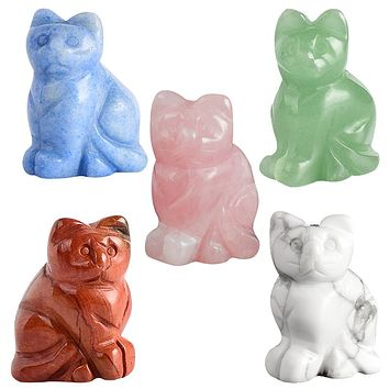 Carved Crystal Cat Statue Figurine Made of Gemstones - Chakra Healing