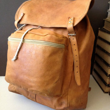 Vtg Czech Backpack Heavy Distressed Leather // Size Large