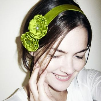 Lime Green Silk Headband / Choker / Belt