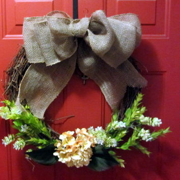Spring Grapevine Wreath with Yellow Hydrangea and Burlap Bow, Summer Wreath, Spring Wreath, Outdoor Wreath, Hydrangea Wreath, Easter Wreath