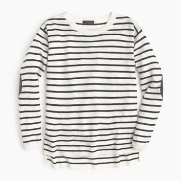 J.Crew Womens Striped Leather Panel Swing Sweater