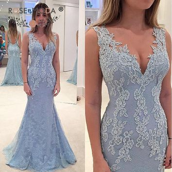 Rose Moda V Neck Pale Blue Lace Mermaid Evening Dress with Sheer Back Formal Wedding Party Dress Custom Made