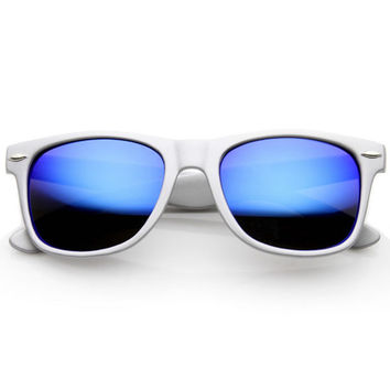 Retro Trendy Colorful Horned Rim Flash Mirror Lens Sunglasses 9632