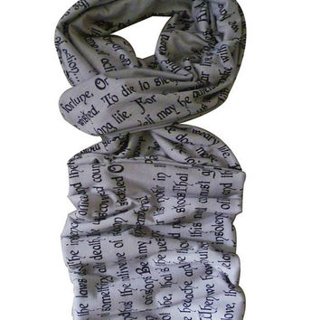 Shakespeare, Scarf, Hamlets Soliloquy, Geek Gift, ROOBY LANE
