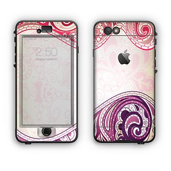 The Vintage Purple Curves with Floral Design Apple iPhone 6 Plus LifeProof Nuud Case Skin Set