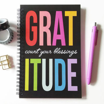 Writing journal, spiral notebook, bullet journal, cute notebook, sketchbook, blank lined or grid paper - Gratitude, count your blessings