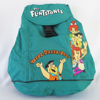 Rare 90s Vintage Teal Green Flintstones Collectible Drawstring Backpack