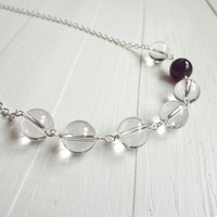 Rock crystal necklace single amethyst stone small chain elegant