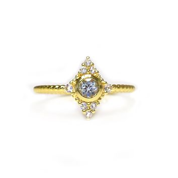 Aquamarine and Topaz Star-lit Ring