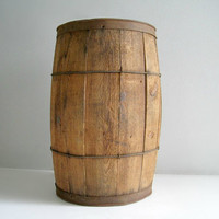 Vintage Wood Nail Keg Barrel - Rustic Decor