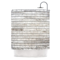 "Susan Sanders ""Wooden Walk"" White Gray Shower Curtain"