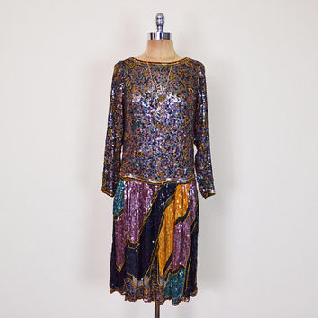 Vintage 70s 80s Sequin Dress Art Deco Bead Dress Trophy Dress Sheer India Silk Dress Midi Dress Cocktail Party Dress Flapper Dress S Small