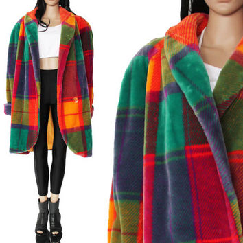 Vtg Donny Brook Faux Fur Coat Colorful Plaid Club Kid Raver Hip Hop 90s Clothing Unisex Size 1 or 2X