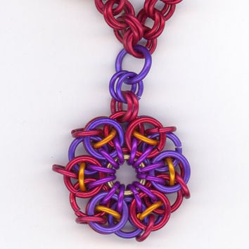 Red and Purple Chainmaille Celtic Star Pendant Double by Lehane