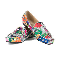 Floral Studded Loafers on Lyke.me
