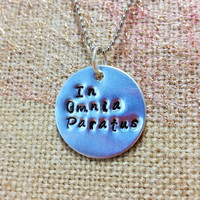 In Omnia Paratus Stamped Necklace