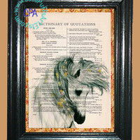 White Horse with Little Yellow Flowers in her Mane - - Vintage Dictionary Book Page Art-Upcycled Page Art,Wall Art,Collage Art - Horse Print